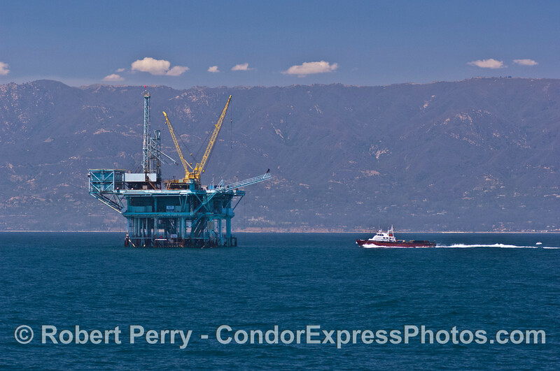 "The oil industry support vessel ""Alan T"" heads for Platform C."