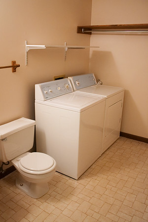 Downstairs has a half bath with laundry machines