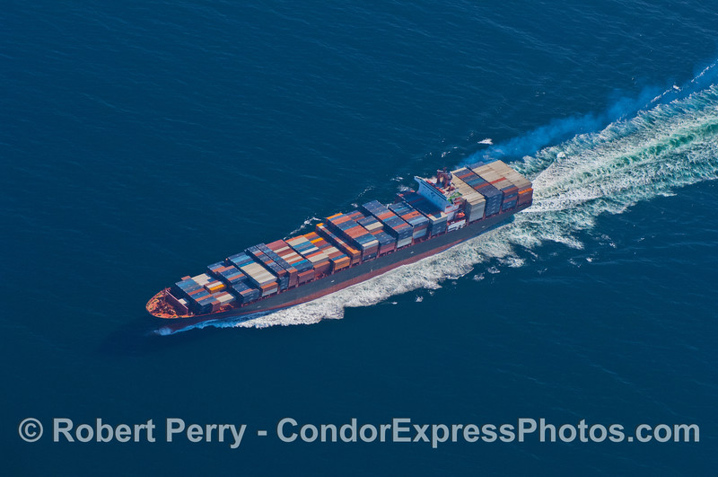 vessel container cargo aerial view with exhaust smoke 2007 09-15 AIR SB Channel--006