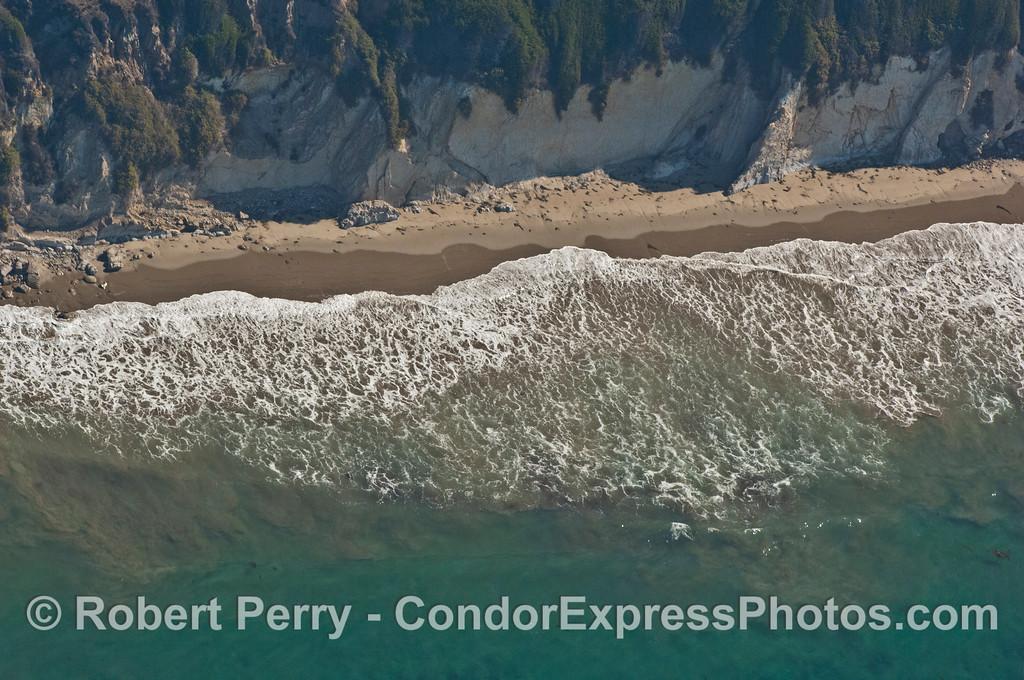 beach cliffs sand surf zone aerial view 2007 09-15 AIR SB Channel-395