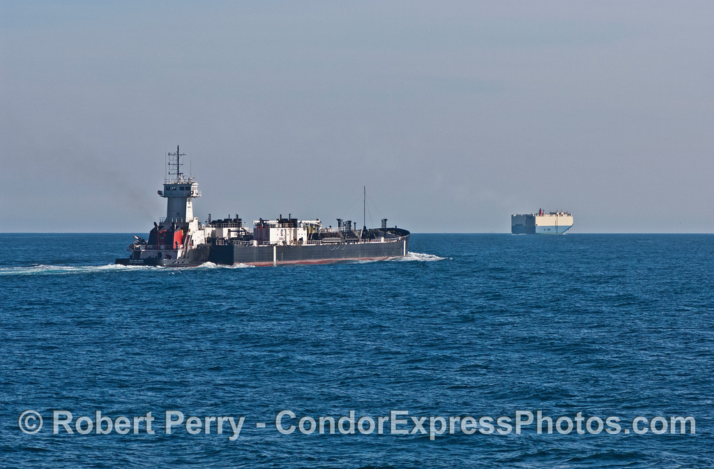 vessel Crowly tug Sea Reliance pushing fuel barge & car carrier 2007 12-16 SB Channel--1166