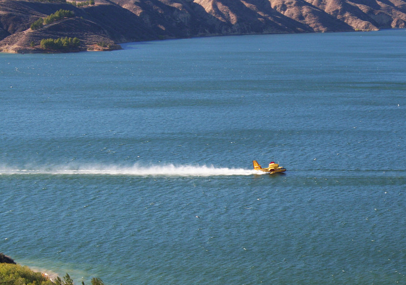 Helicopters and Planes filling up at Lake Castaic