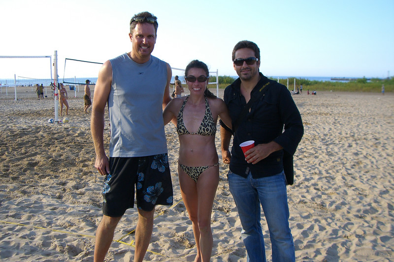 James, Tracy and George on the beach in Chicago.