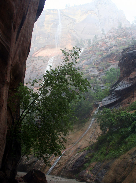 Waterfalls coming off of the cliffs. A storm hit and we had to hike out in the rain.