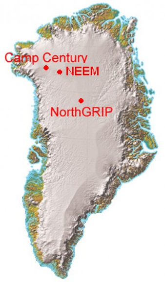 Map of Greenland<br /> The expedition starts out at NorthGRIP (NGRIP) and will then travel the 350 kilometers to NEEM. On the way different work such as drilling shallow icecores and radar mapping was performed.