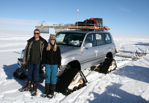 Clauda and Susanne are taking the first-class trip in the Toyota. The car is crammed with radar equipment and the antennas are dragged behind it.