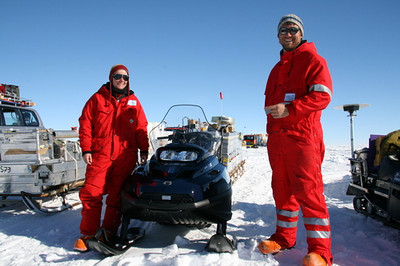 Maria and Peter from Germany. They manage a radar system on sleds and snowscooters