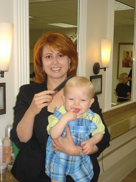 Aaron's first haircut.<br /> Thank you Lillie!