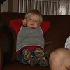 My son assumes the position!