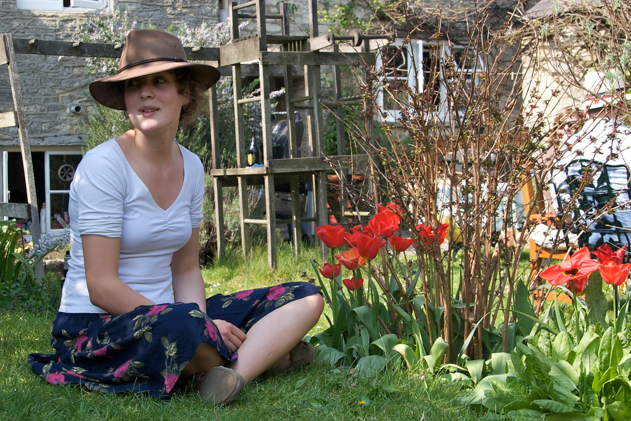'Mid the tulips • Greg wanted to get some arty photos of Bridget on the terrace, amidst the tulips.