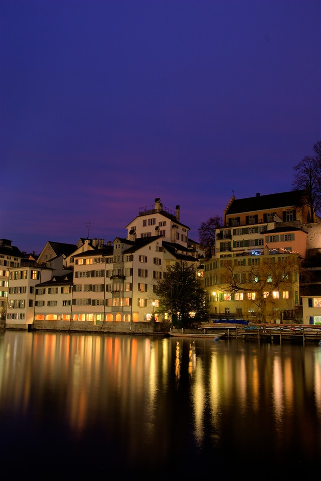 Red sky at night • Looking towards the East bank of the River Limmat. I wanted to capture the last of the setting sun's colour which still appeared in the sky as the twilight turned to night.