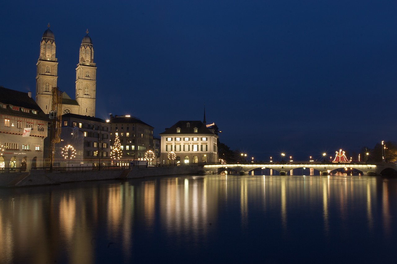 Reflections of Zurich • The twin towers of Grossmünster form one of the best-known sights on the Zurich skyline.