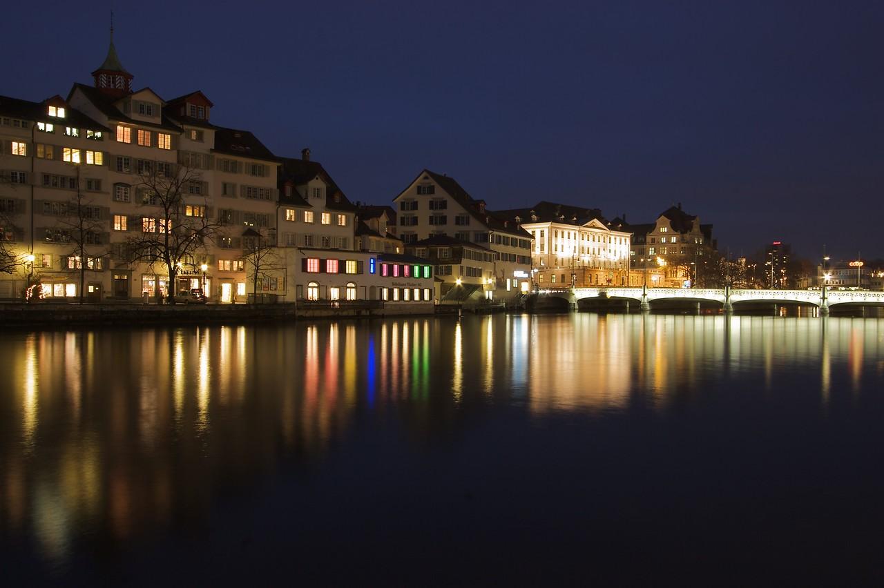 The East Bank • Looking towards Rudolf-Brun Brücke in the twilight.