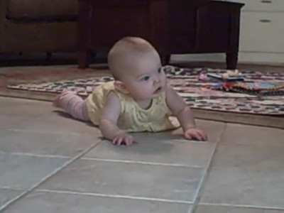 "August 28, 2008 - Starting to experiment with ""real"" crawling (alternating hands)"
