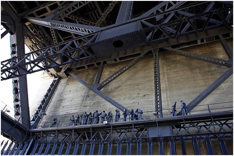 Sydney Harbour Bridge, Tuesday 3rd April 2007.<br /> <br /> Bridge climbers.<br /> <br /> <br /> EXIF DATA<br /> Canon 1D Mk II. EF 17-35mm f/2.8L@19mm 1/60 f/5 ISO 200.