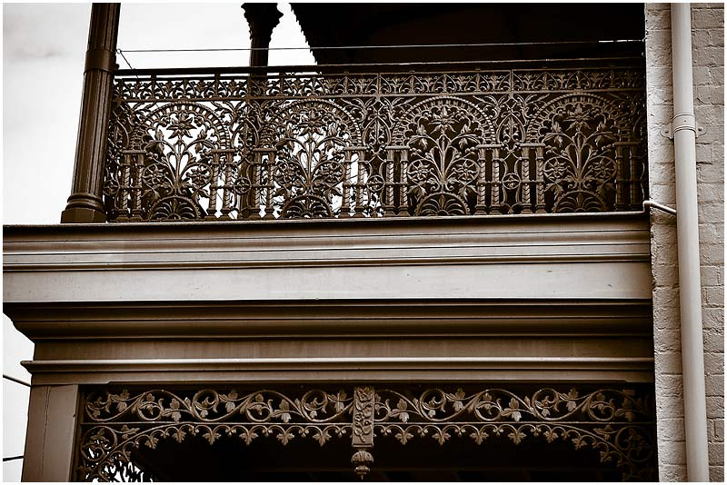 """Beattie Street, Balmain, Monday 30th April 2007.  Ornamental wrought ironwork is a common decorative and functional feature of 19th century houses throughout Sydney. These pieces were produced at the nearby Annandale Foundry.  View location on <a href=""""http://maps.google.com/maps/ms?ie=UTF8&hl=en&om=1&z=14&ll=-33.848891,151.195393&spn=0.0489,0.079651&t=h&msid=107047001763101043024.0000011220d1704ca90a2&msa=0"""" target=""""_blank""""><strong><em>Google Maps</em></strong></a>.    EXIF DATA  Canon 1D Mk II. EF 24-70mm f/2.8L@65mm 1/100 f/5.6 ISO 200."""