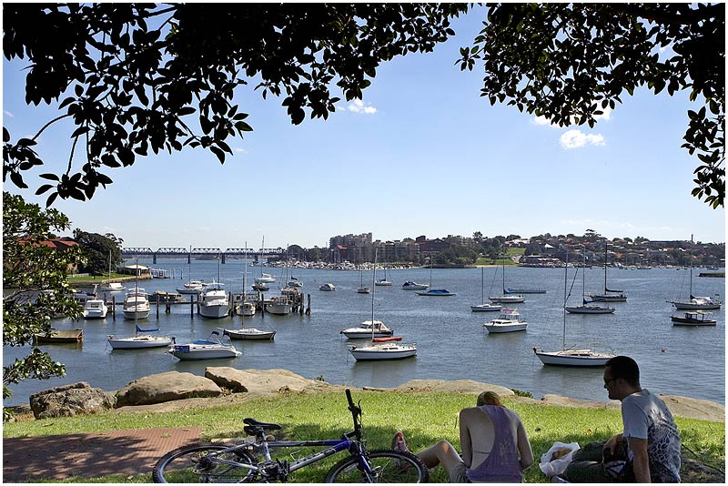 """Balmain, Saturday 21st April 2007.  View towards Iron Cove. We are having beautifully warm autumn weather at the moment.  View location on <a href=""""http://maps.google.com/maps/ms?ie=UTF8&hl=en&om=1&z=14&ll=-33.848891,151.195393&spn=0.0489,0.079651&t=h&msid=107047001763101043024.0000011220d1704ca90a2&msa=0"""" target=""""_blank""""><strong><em>Google Maps</em></strong></a>.  EXIF DATA Canon 1D Mk II. EF 17-35mm f/2.8L@20mm 1/80 f/13 ISO 200."""