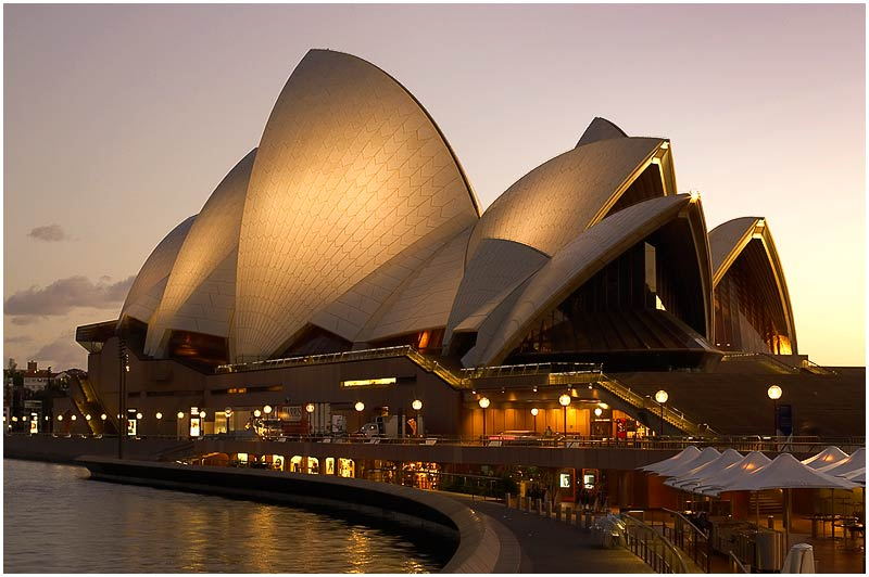 Sydney Harbour, Friday 13th April 2007.<br /> <br /> The Opera House at dawn.<br /> <br /> <br /> EXIF DATA<br /> Canon 1D Mk II. EF 24-70mm f/2.8L@40mm .5s f/8 ISO 200.