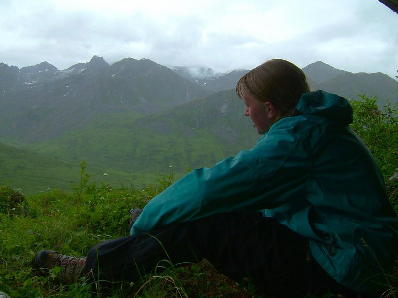 Kaija Klauder and the scenery in Hatcher Pass.