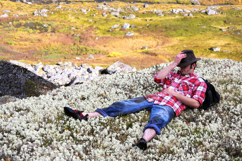 Life is rough in Hatchers, as Richard takes a break on a mattress of moss in Archangel Valley.