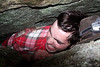 In some places, a curious mind can lead one as far as fifty feet under the surface of the boulder field.  Richard learns that things can get a little bit tight down there.