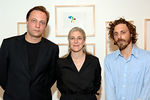 The Aspen Art Museum artists Thomas Schiebitz and Ricky Swallow with Heidi Zuckerman Jacobson, Director and Chief Curator