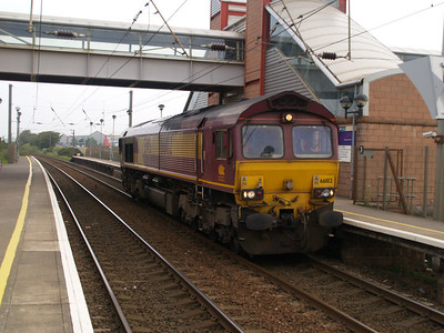 66102 passes through Prestwick Station L/E towards Ayr.