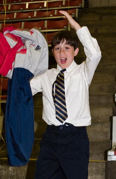Benjamin unveils his dancing clothes.