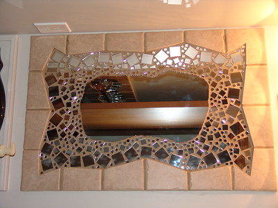 Mirrored Tile Mirror (Center Glass Cut on Wet Saw, Quick, Simple Weekend Project)