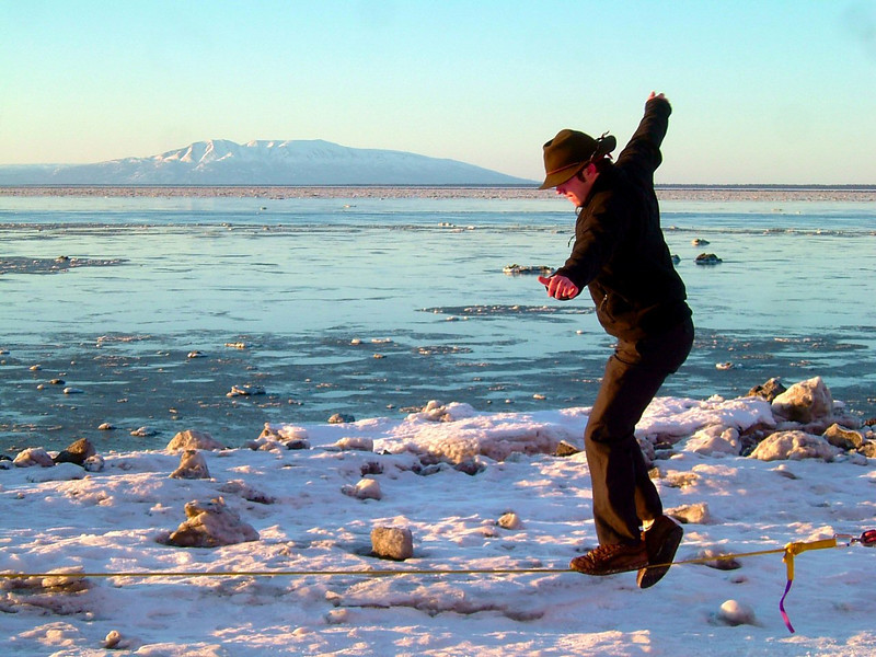 A few dancing steps for Richard with Mt Susitna looking on.