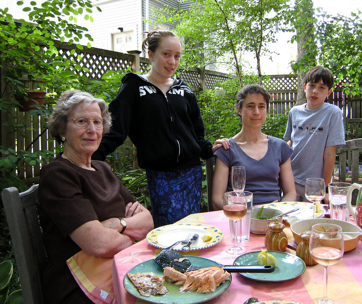 Grandma Jose on her birthday, with Isabel, Chantal, and Benjamin.