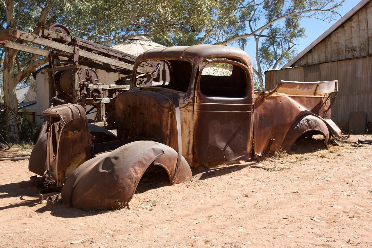 Not going anywhere • A broken-down truck in the Lutheran Mission town of Hermannsburg, in the Northern Territory.