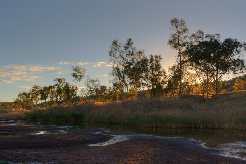 Boggy Hole sunset • The sun sets over Boggy Hole, in the Finke Gorge National Park (Northern Territory).<br /> <br /> [Six different exposures blended together by Photomatix to produce a High Dynamic Range (HDR) image, which was then re-sampled as an 8- or 16-bit image.]