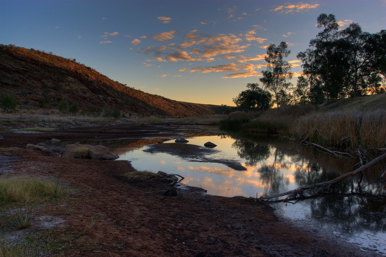 Boggy Hole sunset • The sun sets over Boggy Hole, in the Finke Gorge National Park (Northern Territory).<br /> <br /> [Three different exposures by Photomatix to produce a High Dynamic Range (HDR) image, which is then re-sampled as an 8- or 16-bit image.]