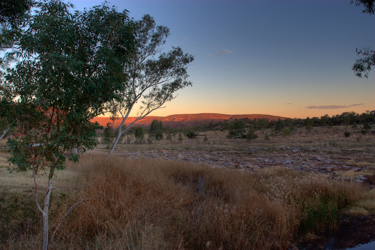 Boggy Hole sunset • The sun sets over Boggy Hole, in the Finke Gorge National Park (Northern Territory).<br /> <br /> [Five different exposures by Photomatix to produce a High Dynamic Range (HDR) image, which is then re-sampled as an 8- or 16-bit image.]