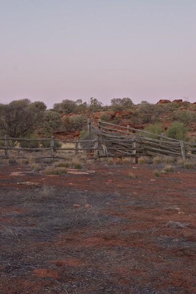 Old stockyards • The sun rises over the disused stockyards at Old Angas Downs cattle station, about 220km south-west of Alice Springs.