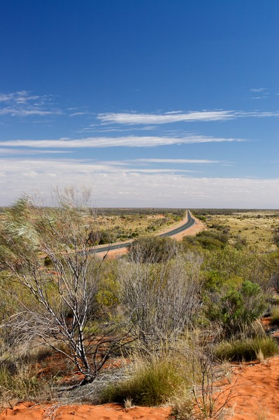 The Lasseter Highway • The Lasseter Highway (Northern Territory) stretches off into the distance.<br /> <br /> As seen from the Mt Conner lookout.