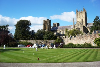 26 - View of Wells Cathedral from Bishop's Palace Croquet Lawn - Liz Greenberg