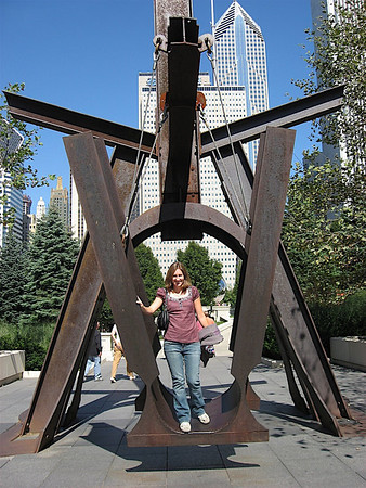 Katy at Millennium Park, riding a really big, cool swing!