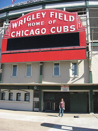 Katy in front of Wrigley Field. It's really old!