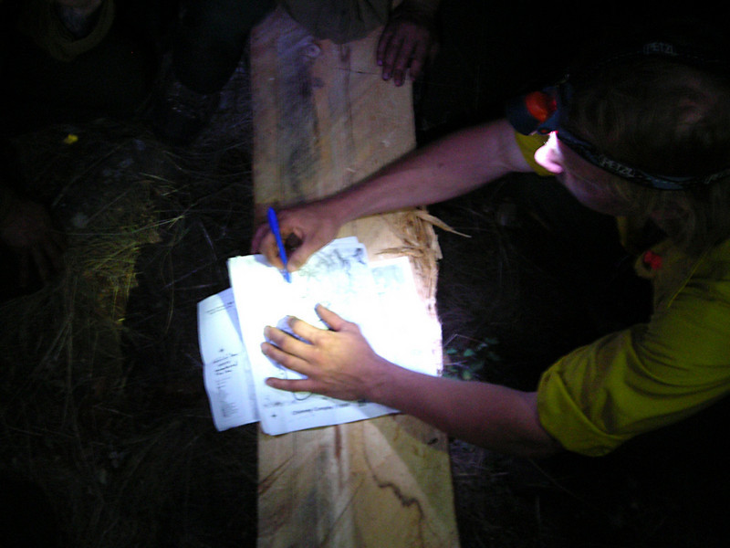 Quick plans were established by crew boss Josh Leutzinger after dark: Should the fire cross the creek at the base of our ridge during the night, we were to be out of our sleeping bags and ready to fight in 45 seconds.  We slept with our boots on.