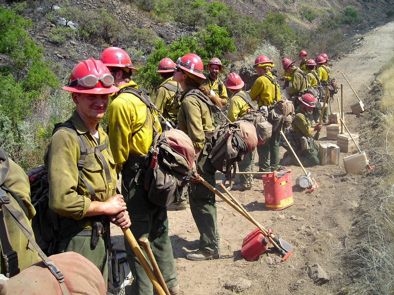 Gannette Glacier, twenty firefighters from Alaska carrying up to ninety pounds apiece and hiking from ridgetop to river in temperatures reaching 98 degrees.  Oh yeah, we dug and burned a fireline on the way too.