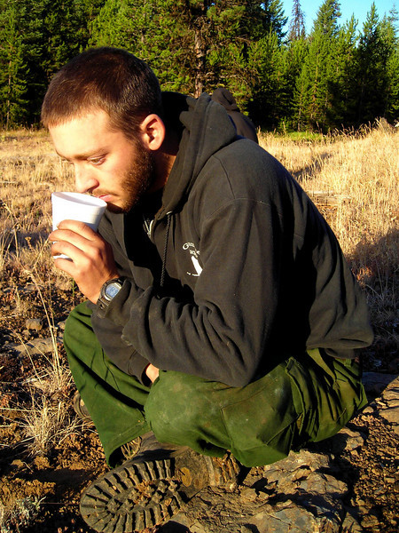 Jeremy Mothershead enjoys his only moments of peace, sipping coffee over breakfast.