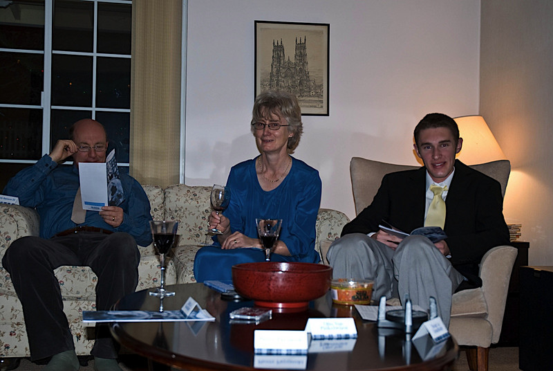 James (aka Kurt, the American bartender), Wendy (aka Ingrid, a crooked art dealer) and James (aka Otto von something, a German Gestapo agent) dressed to play their parts