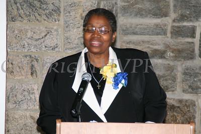 Rev Dr Cynthia Willis Stewart offers a few words during the AME Zion Church 180 Anniversary.  Chuck Stewart, Jr./HUDSON VALLEY PRESS