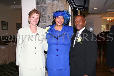 Newburgh City Manager Jean Ann McGrane, Rev Twila Rucker Caines and Councilman George Bowles at the AME Zion Church 180 Anniversary.  Chuck Stewart, Jr./HUDSON VALLEY PRESS