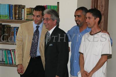 Mustapha Joudini with Mayor Nick Valentine during the grand opening of Masjid Al-Ikhlas.