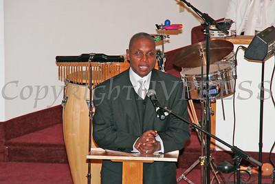 Deacon William Richardson addresses those gathered for the dedication of Mt. Carmel Church.
