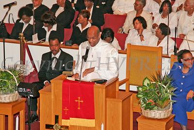 Bishop Leonard Brown address those in attendance for the dedication of Mt. Carmel Church.