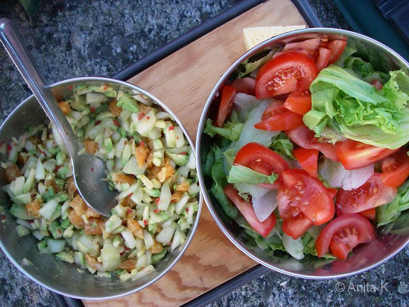 Avokadosalsa och sallad